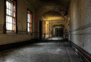 Gated corridor, a leftover prop from the film 'Asylum'